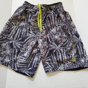 REEBOK Mens (S) Black, Grey And White Swim Shorts
